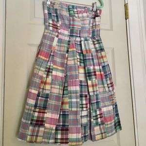 J.Crew strapless patchwork madras summer dress